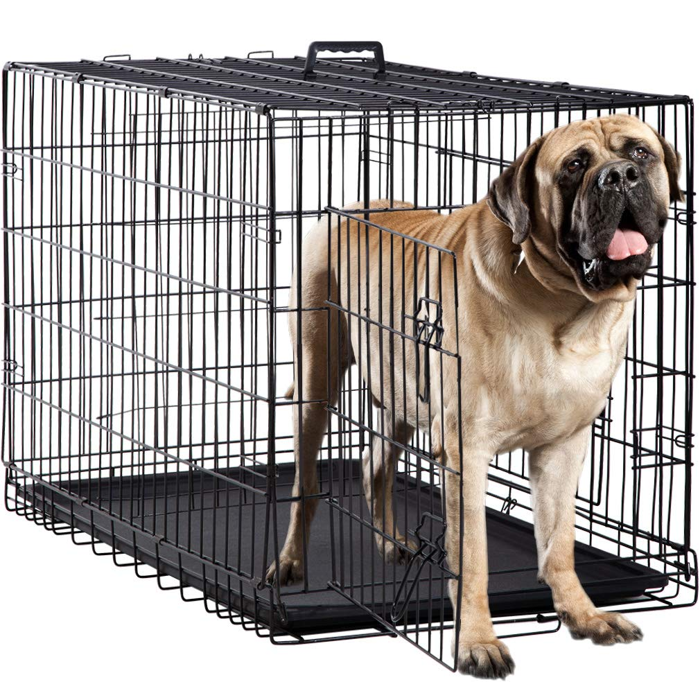 BestPet Dog Crate Double Door Folding Metal Dog Cage Plastic Tray Pet Crate Pet Cage W/Divider,24'' 30'' 36'' 42'' 48'' (42'' Dog Cage)