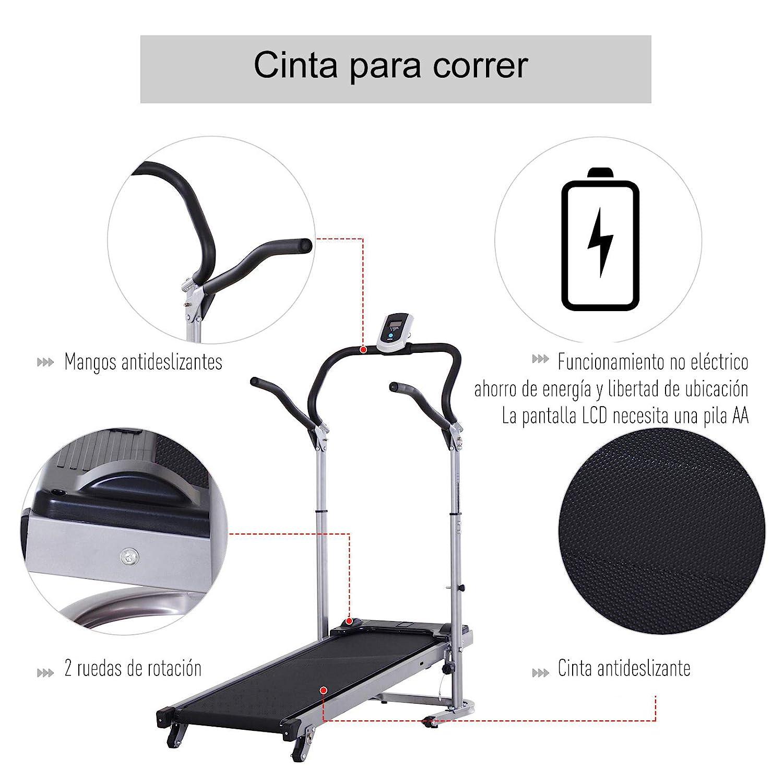 HOMCOM Cinta de Andar Manual Caminadora Plegable Portátil Pantalla ...