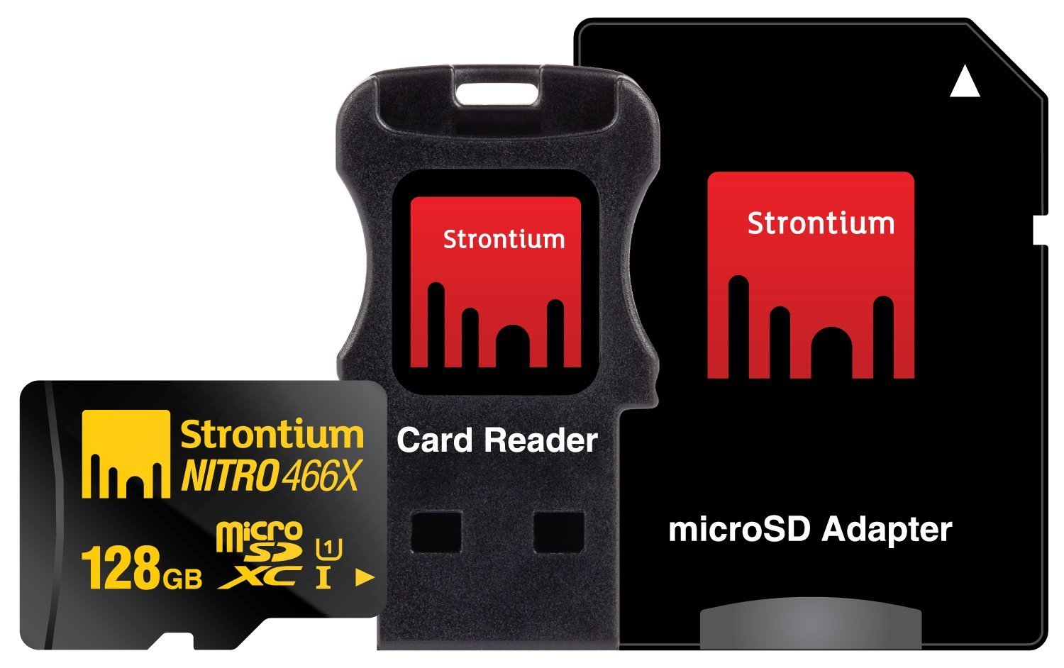Strontium Nitro 128GB MicroSDXC UHS-I Memory Card with Adapter and Card Reader Up to 70MB/s (SRN128GTFU1C)