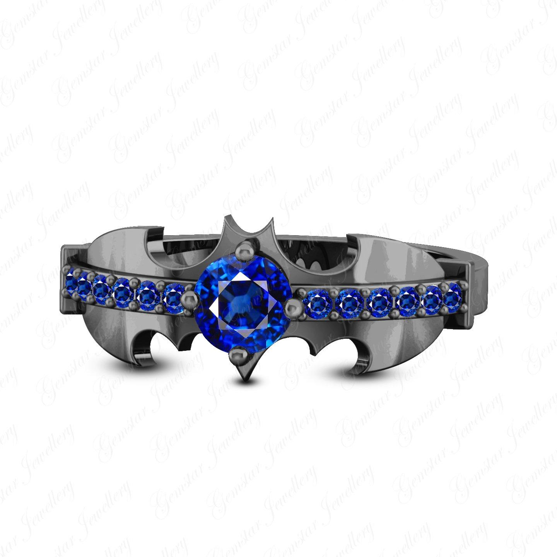 Gemstar Jewellery 14k Black Gold Plated Round Cut Blue Sapphire Engagement Classy Look Batman Ring