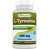 Best Naturals L-Tyrosine 500 Mg 180 Capsules - Supports Mental Alertness, Energy, Focus, Healthy Glandular Function and…