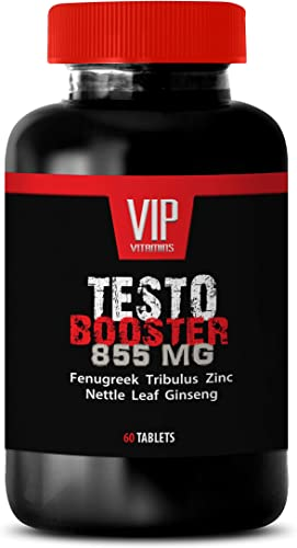Top Testosterone Booster for Men – TESTOBOOSTER 855 with Fenugreek, L-Citrulline, Zinc, Tribulus Terrestris, Nettle Leaf, Ginseng and Vitamin D 1 Bottle 60 Capsules