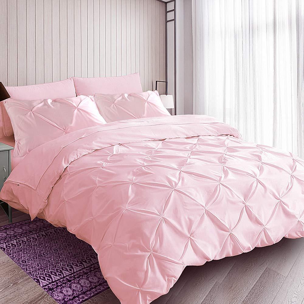 ZIGGUO Pink Duvet Cover Queen Full, Pinch Pleat Pintuck Diamond Pattern Duvet Cover, Peach Girls Bedding, Cotton Blend, No Comforter,1 Duvet Cover and 2 Pillowcases Included