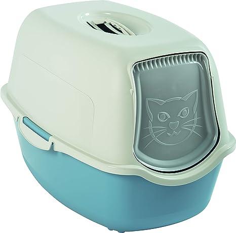 Rotho 4552906130 Bailey - Inodoro para Gatos con Tapa, Color Azul y Blanco