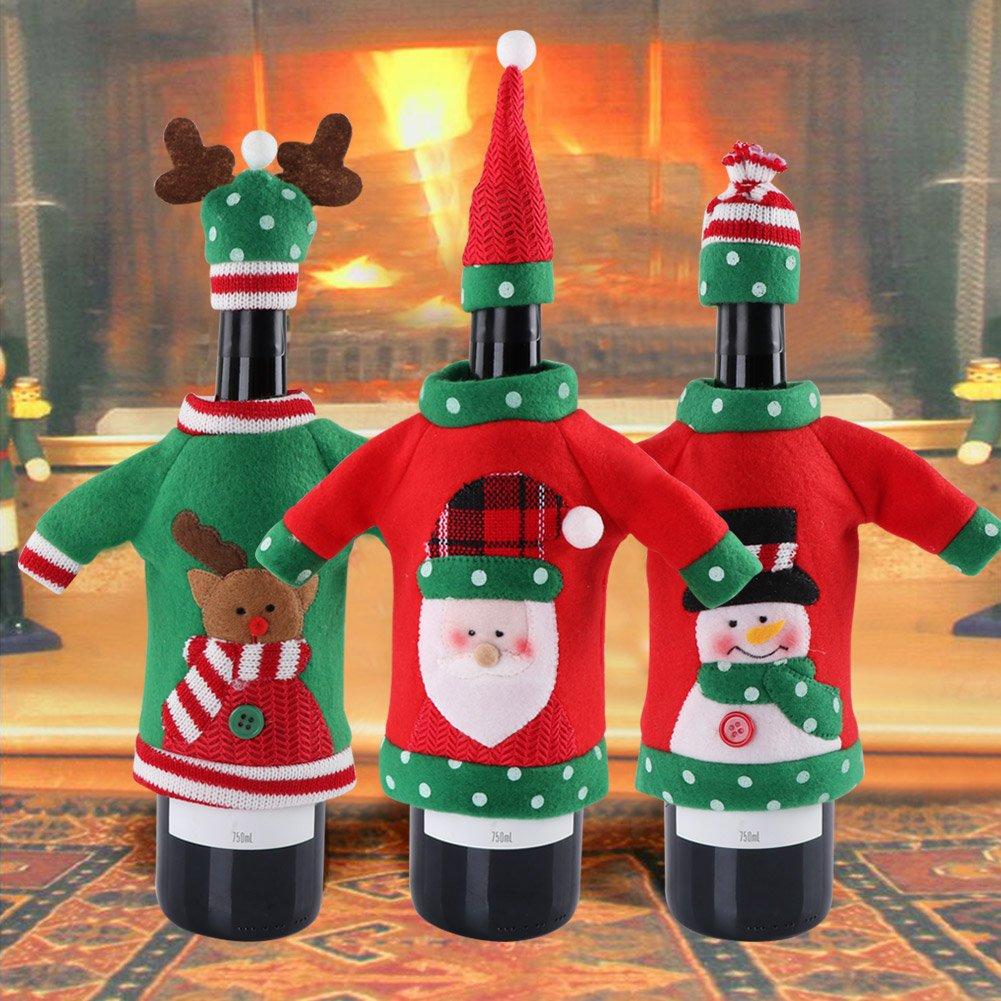 Aytai 3pcs bottiglia di vino a mano copre Ugly Christmas Sweater party regali di Natale Capodanno decorazioni per la tavola