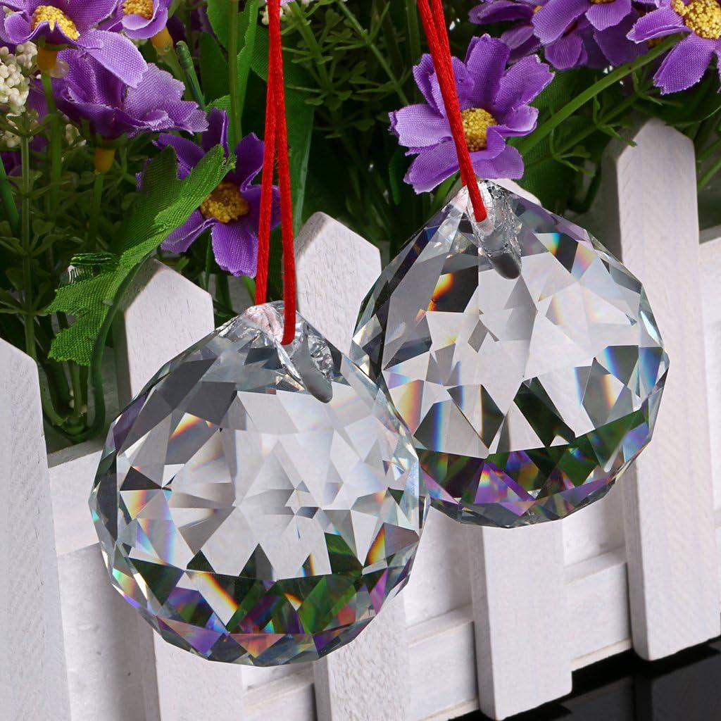 Dia-50mm,Bonheur Boule avec Bo/îte pour Cadeau,D/écoration etc. Sumnacon 2X 50mm Boules Cristal /à Facette,Boule Prisme Fengshui Boule 2PCS