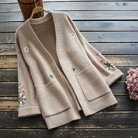 YUKNICO Vintage Mujer Suéter Algodón Bordado Tejer Cárdigan Suéter ...