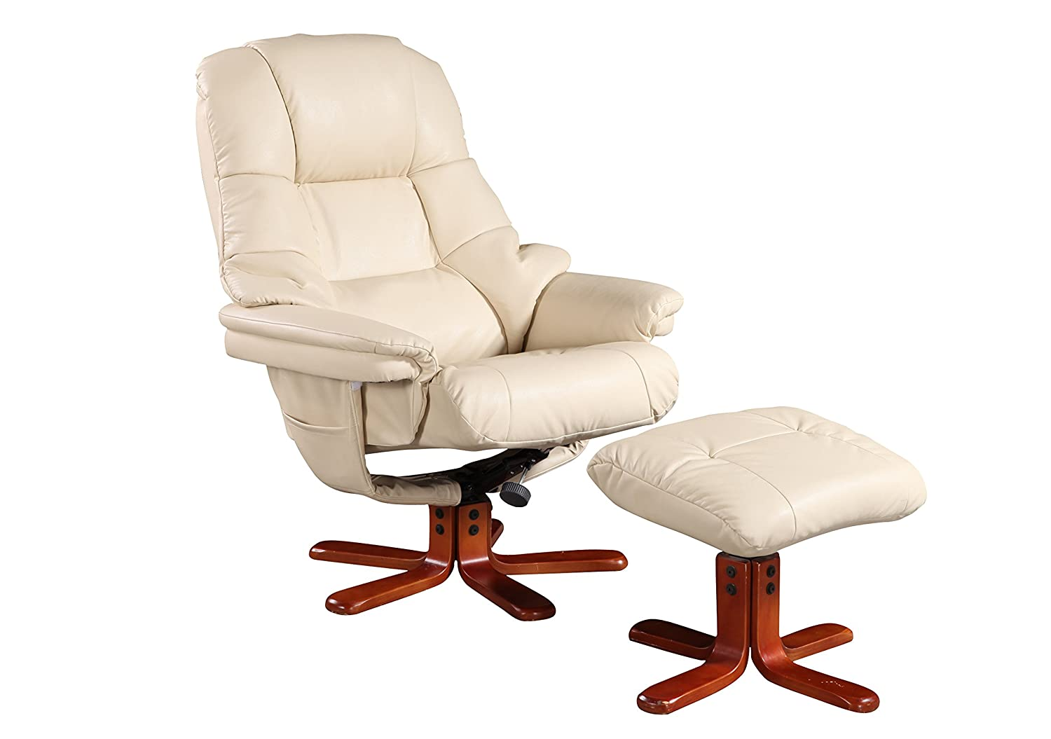 The Las Vegas swivel recliner chair and footstool in leather effect material in cream with cherry  sc 1 st  Amazon UK & The Mandalay - Bonded Leather Recliner Swivel Chair u0026 Matching ... islam-shia.org