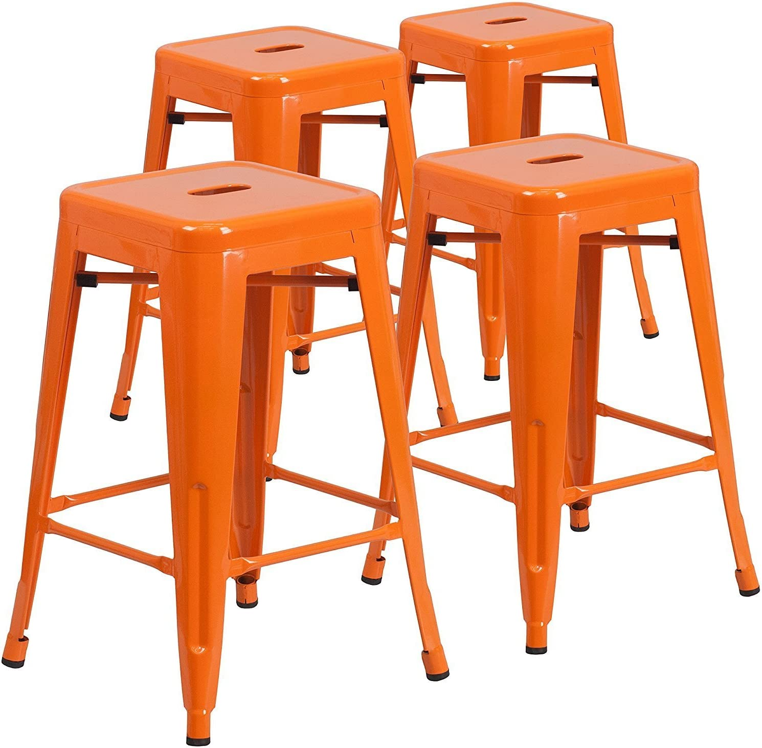 """Vogue Furniture Direct 24"""" High Barstools Backless Orange Metal barstool Indoor-oudoor Counter Height Stool with Square Seat, Set of 4"""