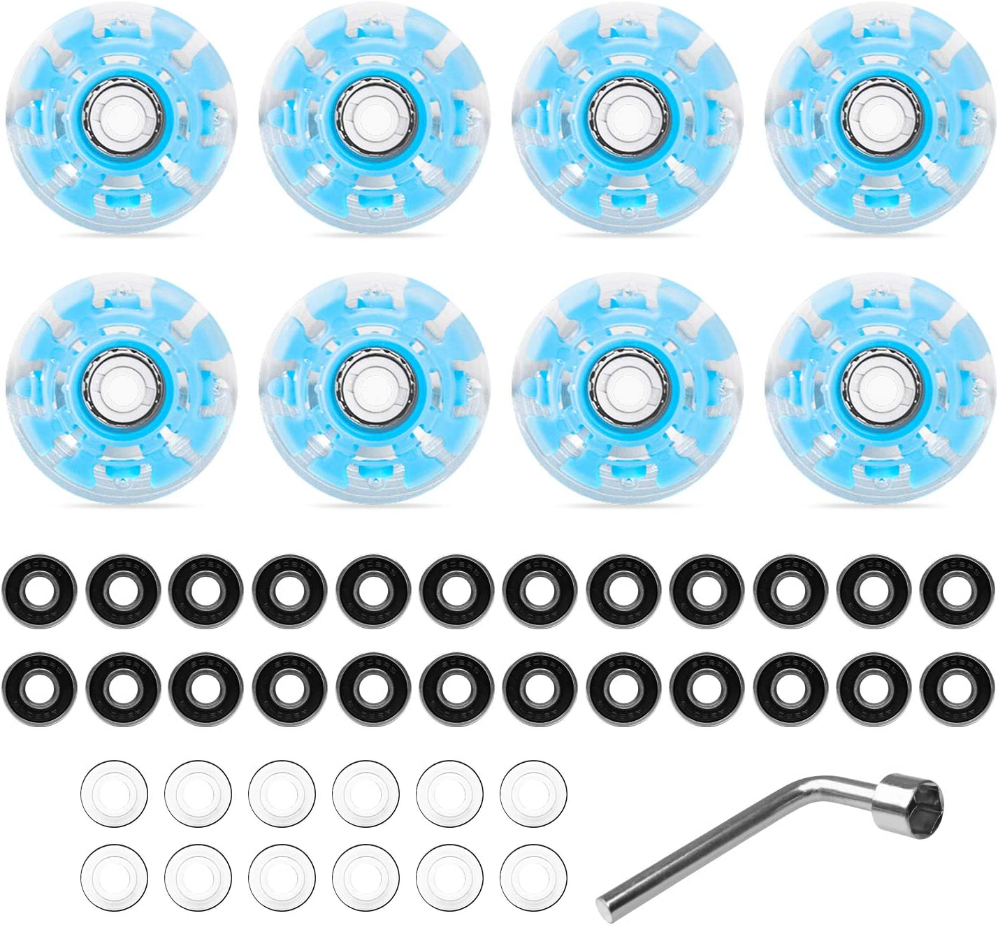 B/&A 8 Piece Roller Skate Wheels Luminous LED Light Up Skate Wheels with Skate Roller Bearings for Double Row Skating and Skateboard 32 x 58 mm Blue