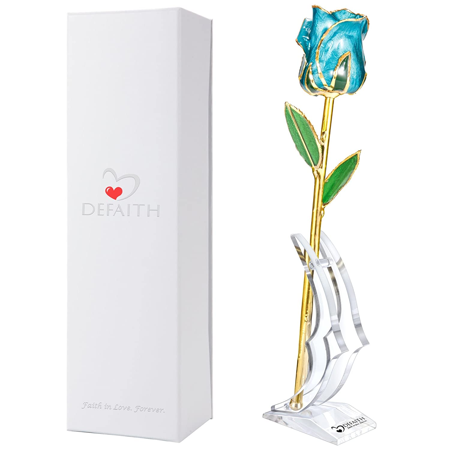 (Original Fresh Cut Rose Dipped in Gold Pearl Teal Blue) DeFaith Original 24K Gold Rose, Unique Anniversary Gifts for Mother Her Women Wife Girlfriend, Made from Real Fresh-Cut Rose with Stand Pearl Teal Blue B078ZTB1QP Original Fresh Cut Rose Dipped in Gold Pearl Teal Blue
