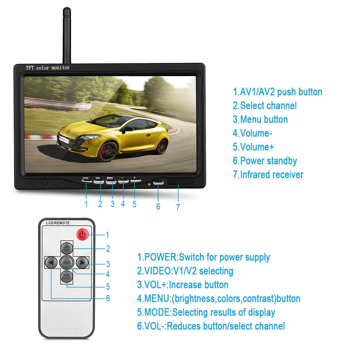 12/V-24/V Wireless 18LEDs IR visi/ón nocturna impermeable c/ámara de visi/ón trasera de copia de seguridad de marcha atr/ás sistema 7/monitor TFT LCD HD coche para Bus cami/ón remolque