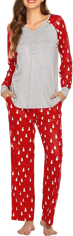 Ekouaer Christmas Pajamas for Women Matching Long Sleeve Pjs Set Contrast Color Sleepwear Lounge Set