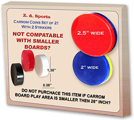 Smaller Boards Only WITH 2 STRIKERS SET OF 21 DISKS. CARROM BOARD COINS