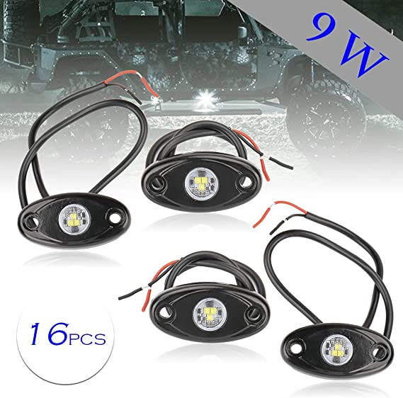 GZYF 16 Pods LED Rock Light Kits Lights Pods Under Body Glow Lamp Lighting for Jeep Off Road Truck Cars ATV SUV Motorcycle