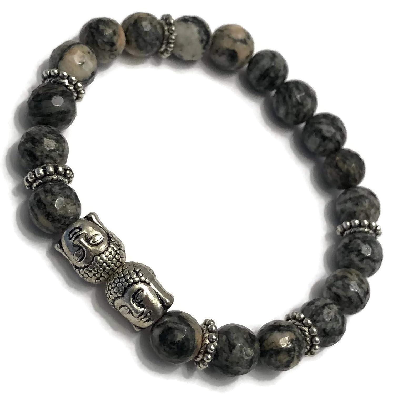 KarmaArm Buddhist Bracelet Meditation Jewelry Boho Stretch Bracelets Buddha Beaded Reiki Yoga Chakra Bracelet Keep Calm: Spiderweb Jasper