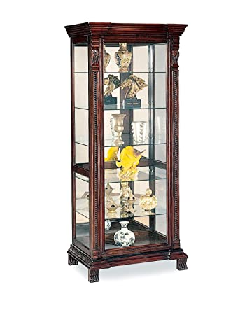 coaster glass shelves curio china cabinet cappuccino wood finish