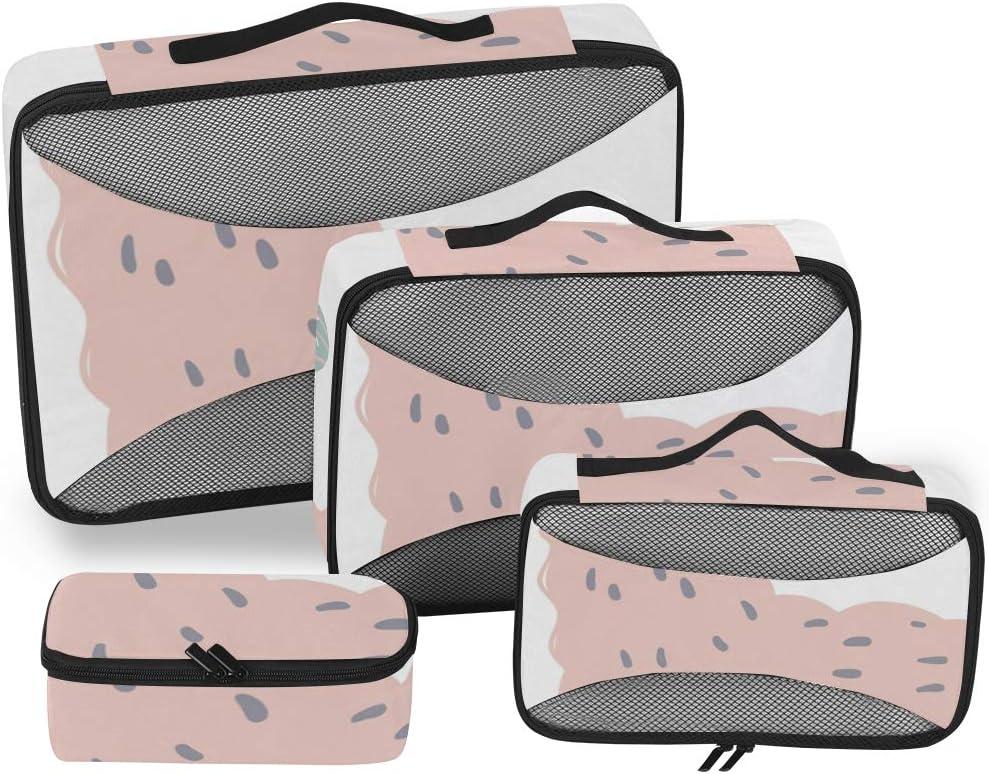 4 Set Packing Cubes Travel Luggage Packing Organizers Pink Cartoon Llama