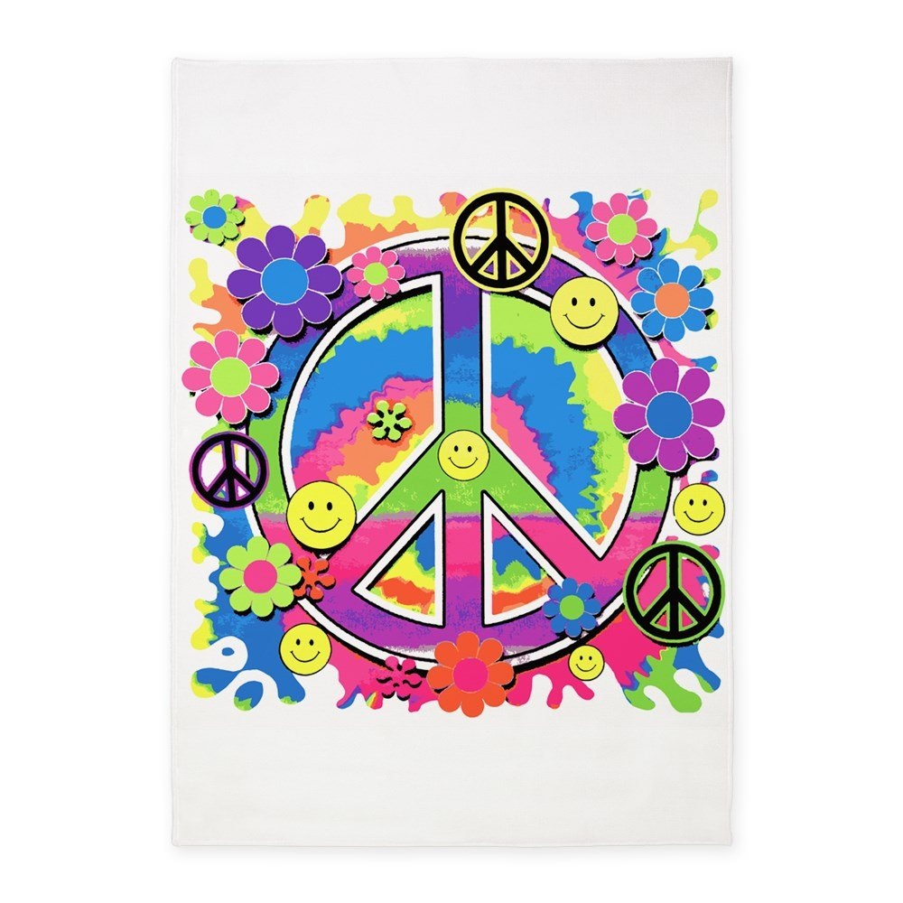 5' x 7' Area Rug Neon Smiley Face Floral Peace Symbol by Royal Lion