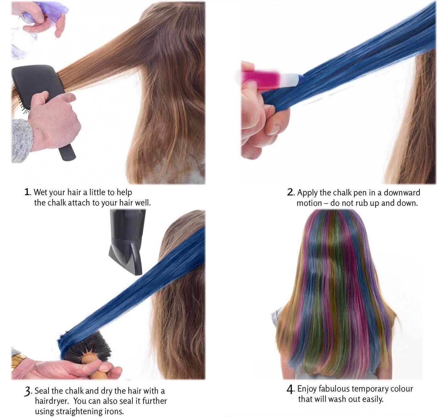 Girls Hair Chalk, Rainbow Hair Chalk, Unicorn Hair Chalk Pens by Twinkle Unicorn (Image #5)
