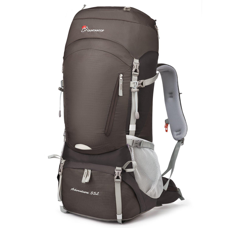 Mountaintop 55L/65L 登山バッグ 大容量 ザック 登山 リュック 防水 ハイキング バックパック キャンプ 防災 旅行用 リュックサック アウトドア バッグ 軽量 レインカバー付き B07CQKKW78 褐色(55L) 褐色(55L)