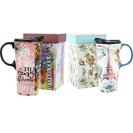ff7fe21d7d1 Image Unavailable. Image not available for. Color: Ceramic Travel Mug 17 oz.  Coffee Cup with Sealed Lid ...