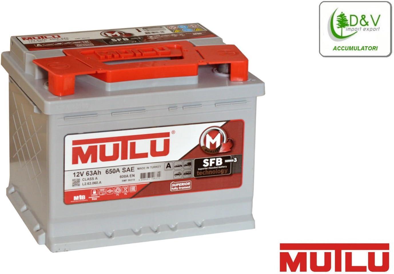 Mutlu Batterie de Voiture Premium Brand 63 Ah 650 A 12 V certifiée d'origine OEM les usine automobile adaptée également pour le système Start & Stop