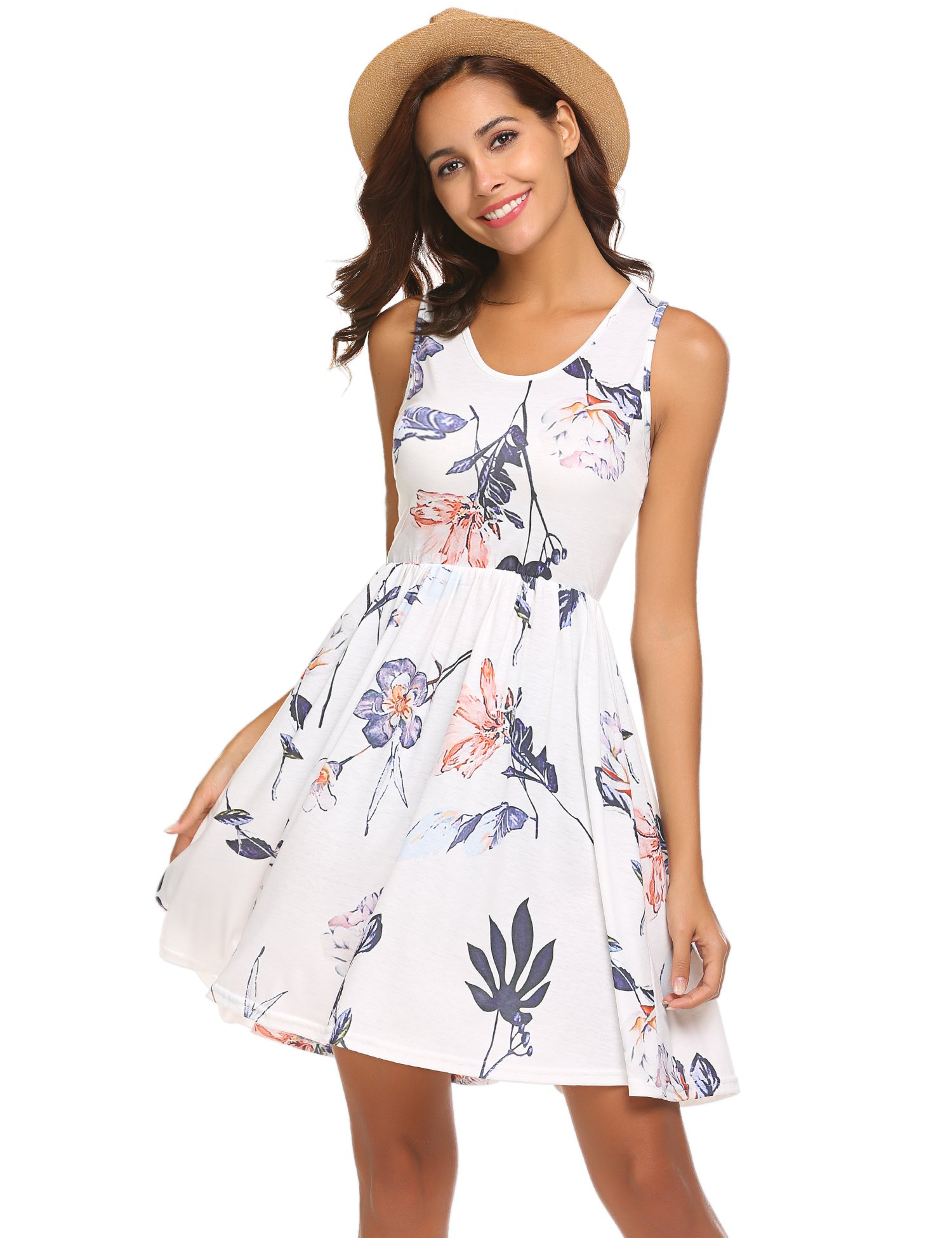 POGTMM Women's Summer Floral Printed Sleeveless Mini Dress (00White, S)