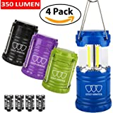 LED Lantern - Camping Lantern (Emits 350Lumens Each Lantern) Camping Equipment Camping Gear - Camping Lights for Hiking, Emergencies, Hurricanes, Outages, Storms Great Gift Gold Armour 4PACK