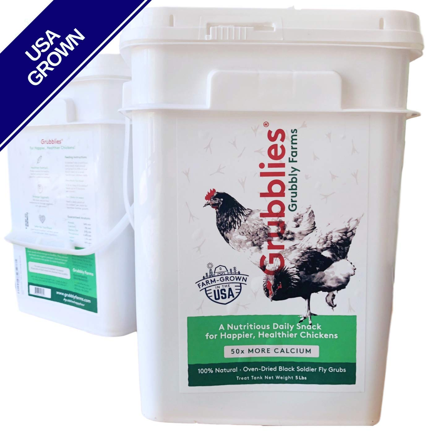 Grubblies - 5 lb. Treat Tank USA-Grown Non-GMO Grubs, 50x More Calcium Than Mealworms - a Daily Nutritious Snack for Chickens - 100% Natural & Oven-Dried for Happy, Healthy Hens by Grubbly Farms