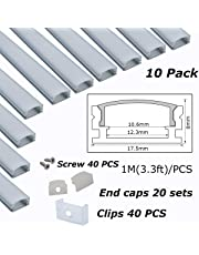 Aluminum Channels U Shape Extrusion 1 Meter/3.3 FT for Mounting 10mm Wide LED Strip 12mm Rigid LED Bar LED Strip Channel with Diffused Cover End Cap Mounting Clips Screws LL-CA01-F-[10 Pack]