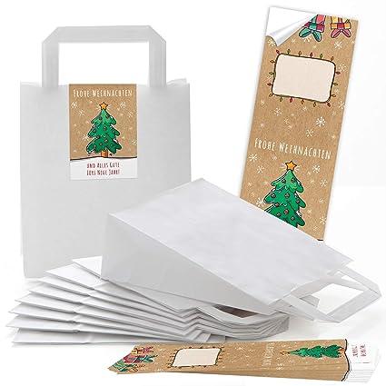 50 blanca bolsa de papel Bolsa de Regalo con asa suelo 18 x ...
