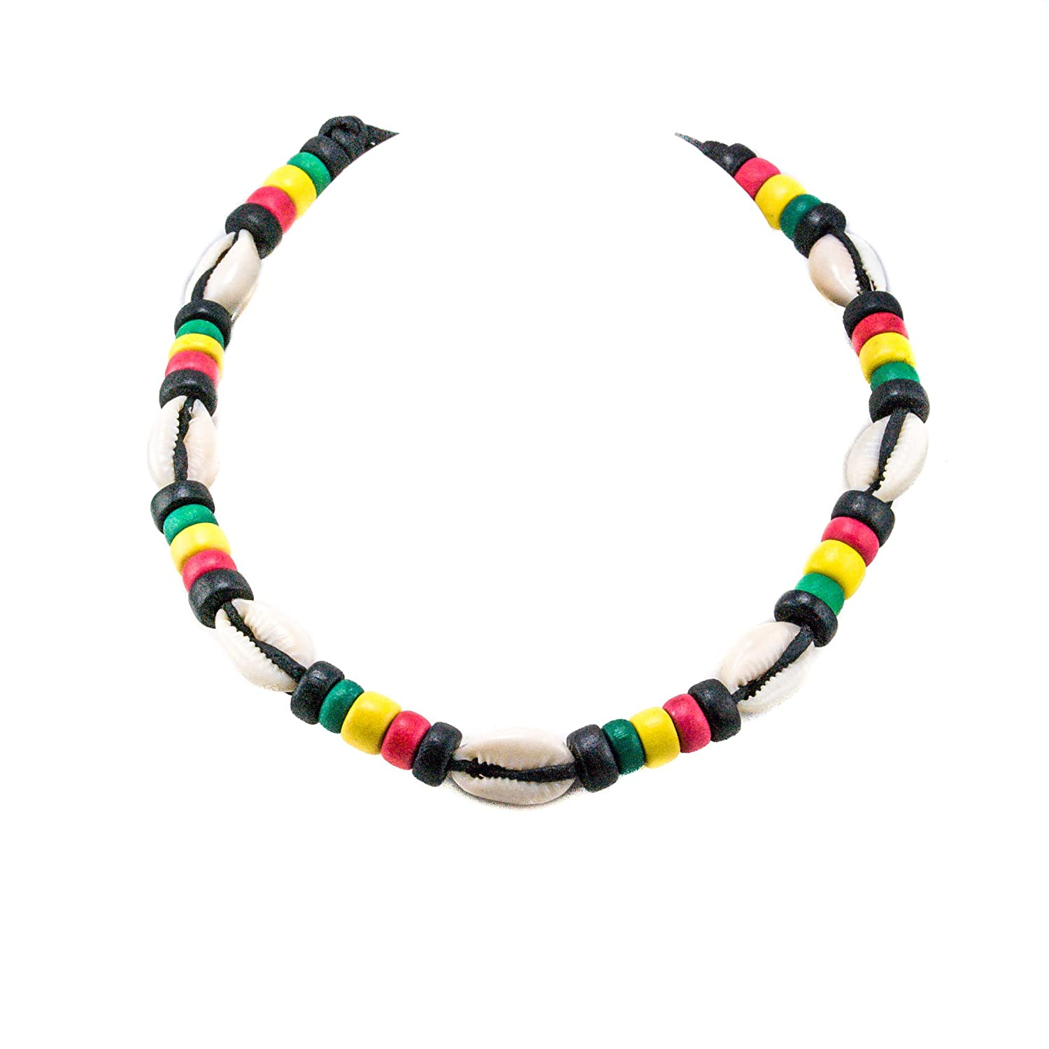 Cowrie Shell Necklace on Black Cord Choker Necklace with Rasta Colored Coconut Wood Beads