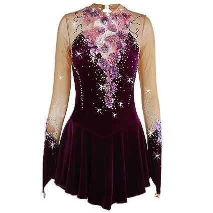 1268804de4bf3 Amazon.com : NYW Figure Skating Dress for Girls, Handmade Velvet Ice ...
