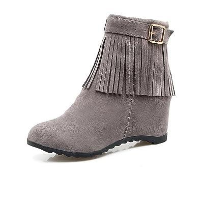 VogueZone009 Damen Rein Mattglasbirne Mittler Absatz Rund Zehe Reißverschluss Stiefel, Cremefarben, 37