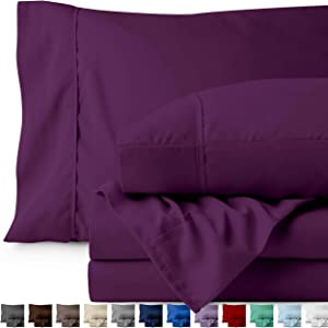 Bare Home Queen Sheet Set - 1800 Ultra-Soft Microfiber Bed Sheets - Double Brushed Breathable Bedding - Hypoallergenic – Wrinkle Resistant - Deep Pocket (Queen, Plum)