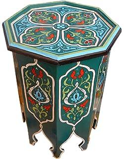 Moroccan Wood Side End Table Corner Coffee Handmade Hand Painted Moorish  Green