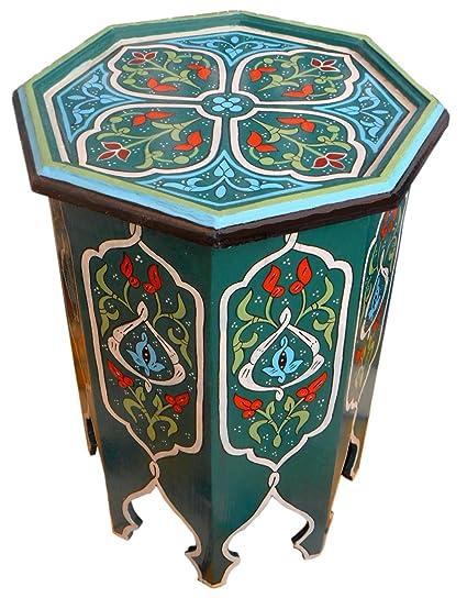 Genial Moroccan Wood Side End Table Corner Coffee Handmade Hand Painted Moorish  Green