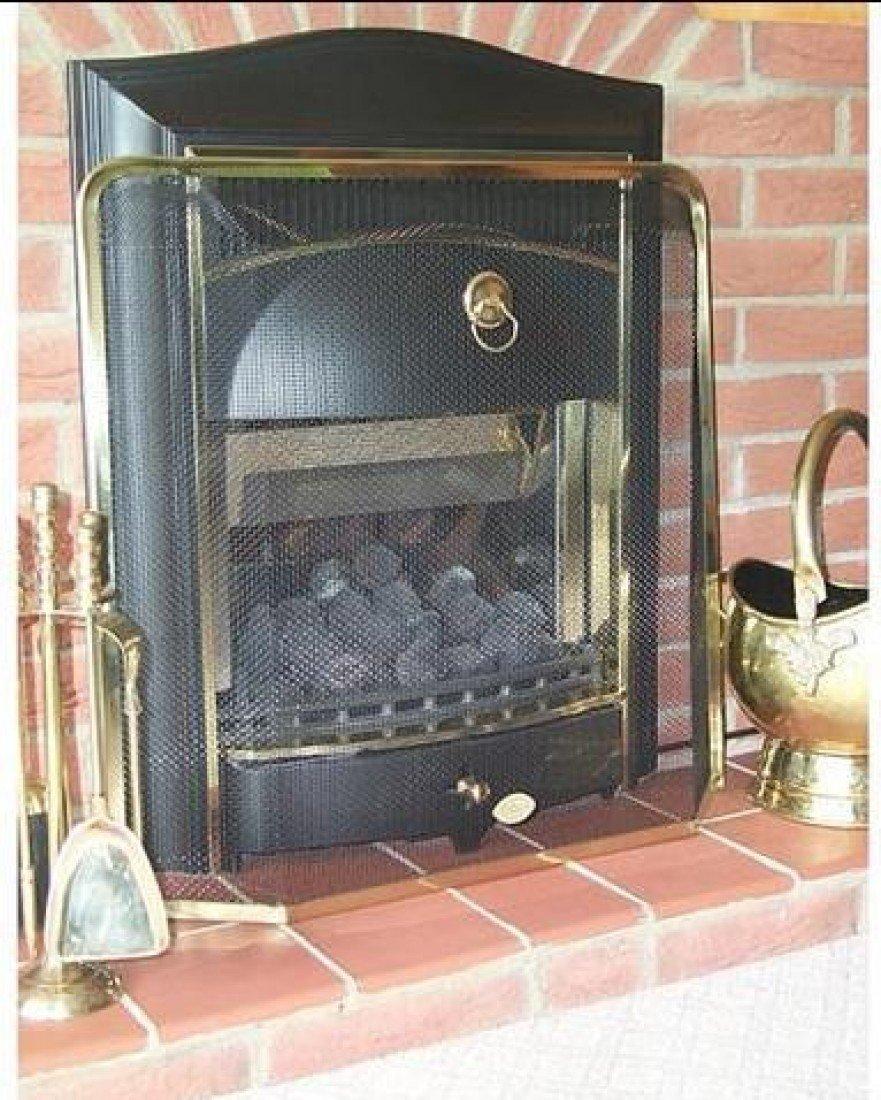 Medium Meshed Square Fireguard Fire Screen Black Traditional Fire Place Guard Bakaware