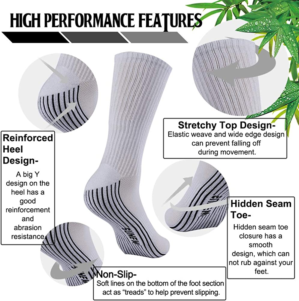 Sunew Soft Mens and Womens Athletic Hiking Crew Cushioned Dress Casual Socks 1//3//6 Pairs Bamboo Socks