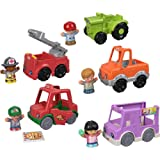 Fisher-Price Little People Around the Neighborhood Vehicle Pack, set of 5 push-along vehicles and 5 figures for toddlers