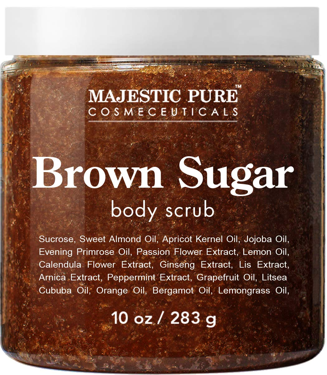 Brown Sugar Body Scrub for Cellulite and Exfoliation - Natural Body Scrub - Reduces The Appearances of Cellulite, Stretch Marks, Acne, and Varicose Veins, 10 Ounces by Majestic Pure