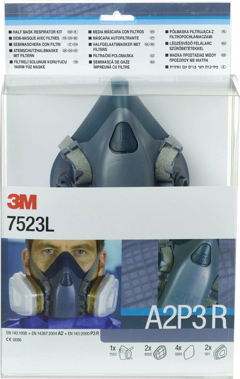 3M Reusable Half Mask Respirator Kit, A2P3 R Filter, Large Mask, 7523L, EN safety certified