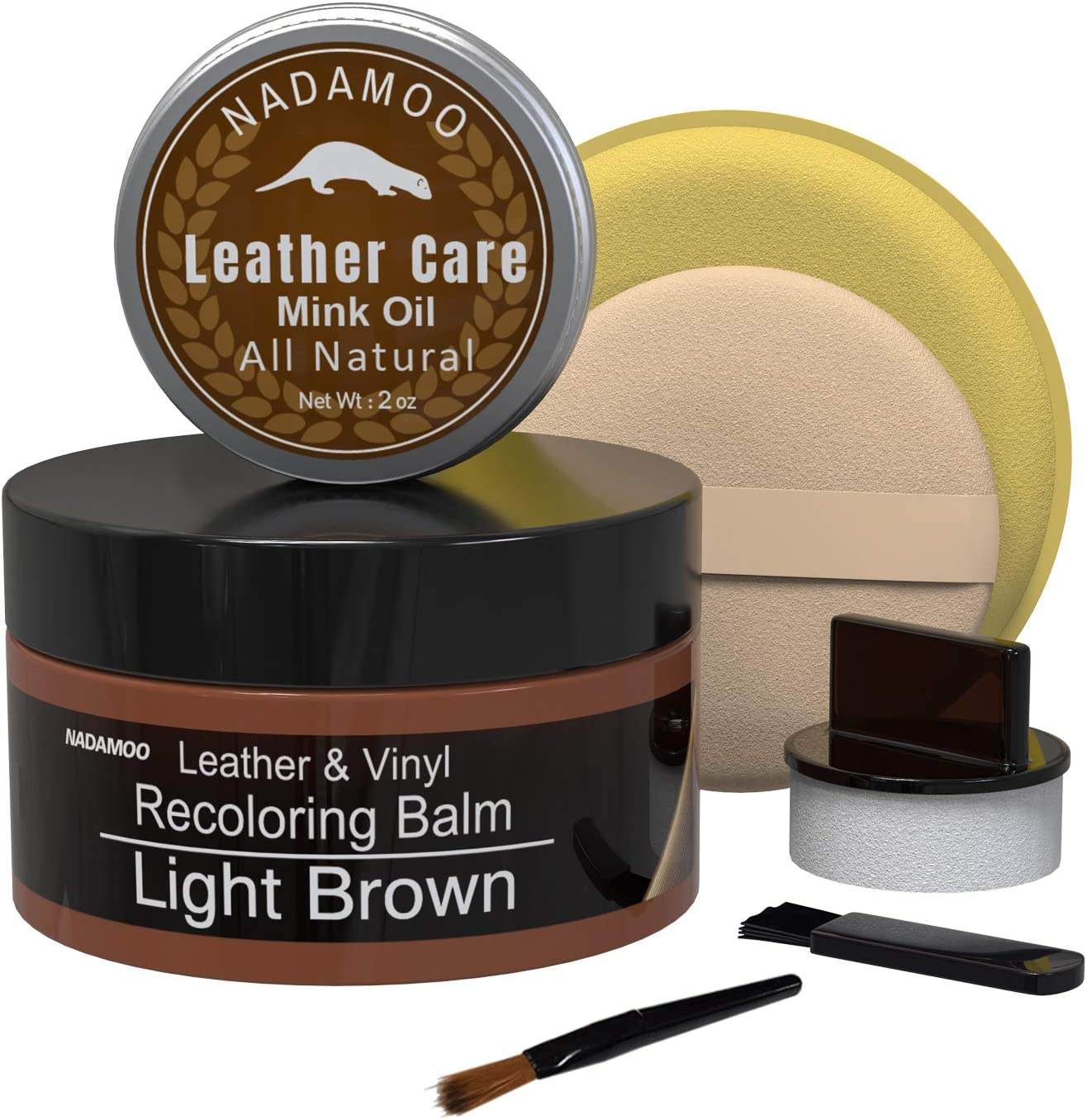 NADAMOO Light Brown Leather Recoloring Balm with Mink Oil Leather Conditioner, Leather Repair Kits for Couches, Restoration Cream Scratch Repair Leather Dye For Vinyl Furniture Car Seat, Sofa, Shoes