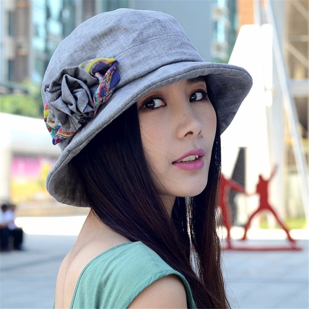 bluee Women's Spring and Autumn Elegant and Leisure Cotton and Hemp hat (Size Adjustable)