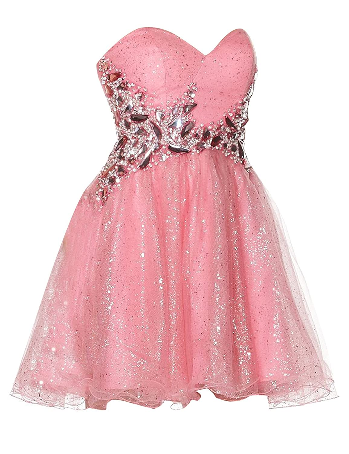 Dressystar A Line Short Prom Dresses Glittering Beaded Sweetheart Cocktail Gowns