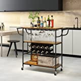 Petiture Industrial Bar Cart with Wine Rack and Glass Holder,Kitchen Serving Cart with Wheels,Mobile Wine cart for Home,Kitch