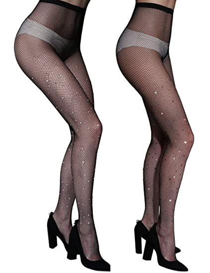 d098254425c NORMOV Rhinestone Fishnet Stockings -Sparkle Rhinestone Fishnets Tights For Women  Fishnet Stocking (1black+