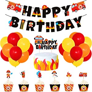 Fire Truck Birthday Party Supplies Fireman Banner Cake Topper Firefighter Cupcake Toppers and Wrappers Latex Balloons for Boy's Birthday Fire Engine Rescue Theme Party Decorations Set of 62