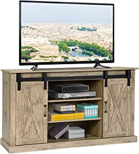 Tangkula Farmhouse Sliding Barn Door TV Stand, Vintage Rustic TV Cabinet Stand Fit Up to 60-inch TVs, Storage Cabinets with 2 Gliding Doors & Adjustable Shelves, Home Living Room Furniture (Natural)
